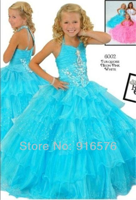 Halter Embroidery Light Blue Pink Ball Gown Brush Train Children\'s ...