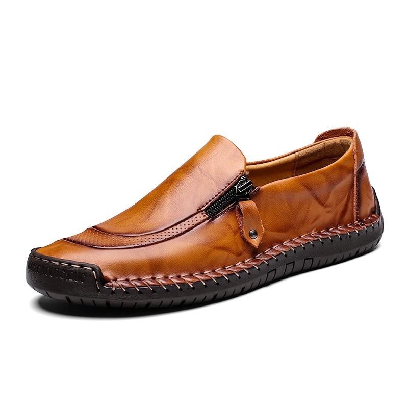 Split marron Pour Respirant Cuir Appartements Nouveauté Qualité Grande Taille jaune Hommes 2019 Confortable Mocassins 48 Chaussures Décontractées En Noir 7nTOIA