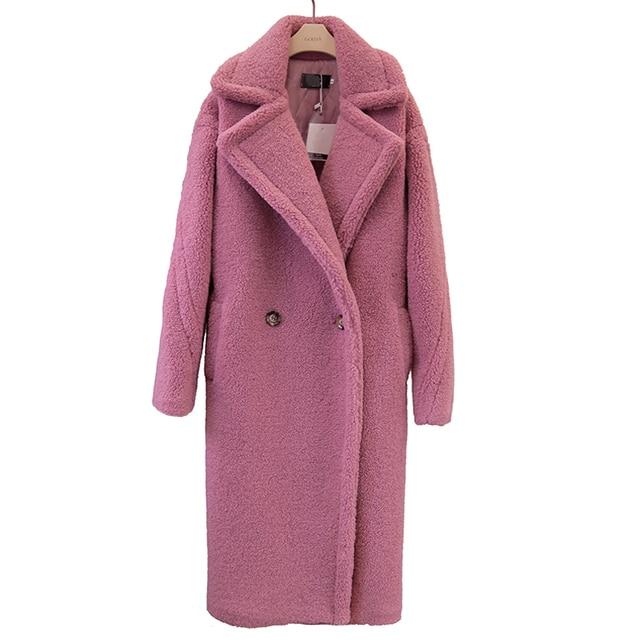 2018 new teddy coat faux fur long coat women lamb fur coat 4 color 3