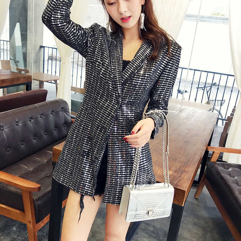 2019 Spring Autumn Mini Sequin Blazer Dress Women Black Korean Elegant  Office Slim Shiny Silver Brilliant 372ed3ee7a6d