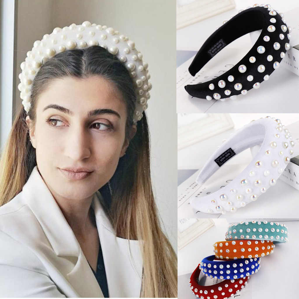 Colorful Pearl Velvet Padded Headband Large Matador Thick Wedding Bridal Crown Handmade Wide Sponge Hairbands for Women