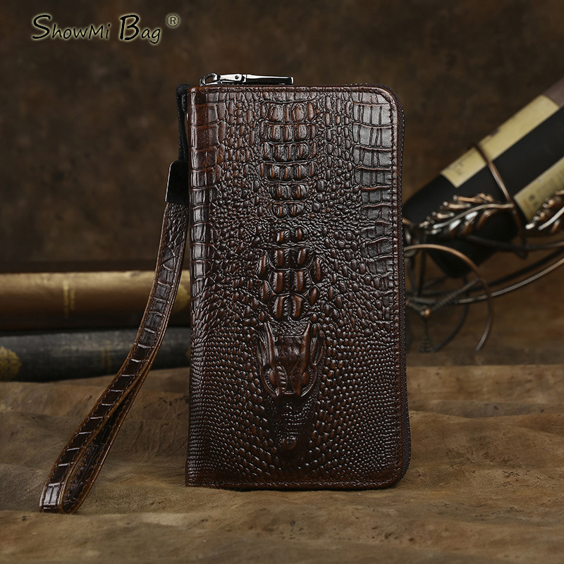 ФОТО ShowMi Bags 2016 Luxury Men Leather Purse Cowhide Crocodile Wallet Cell Phone Dollar Coin Pocket Long Real Leather Men Wallet