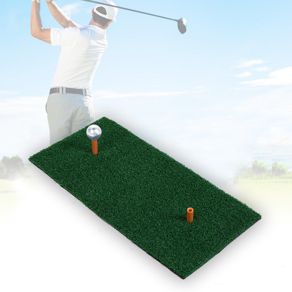 Indoor Backyard Golf Mat Hitting Pad Practice Rubber Tee Holder Grass Mat Grassroots Green Golf Training Mat 60X30cm