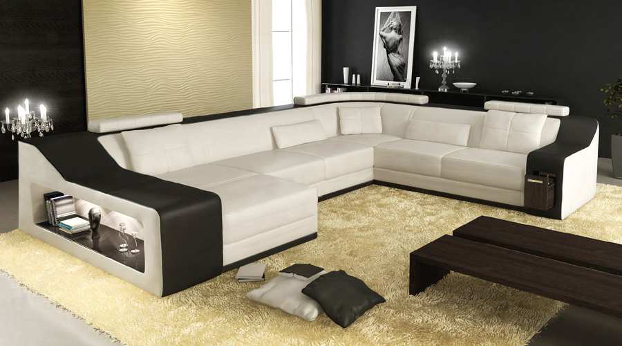 New design sofa corner sofa with led light sofa in living for Latest sofa designs for living room
