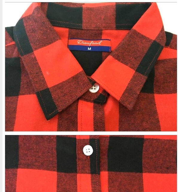 Flannel Plaid Shirt Winter Women Tops Red Plaid Christmas Shirt Long Sleeve Plus Size Fashion Casual Blouse