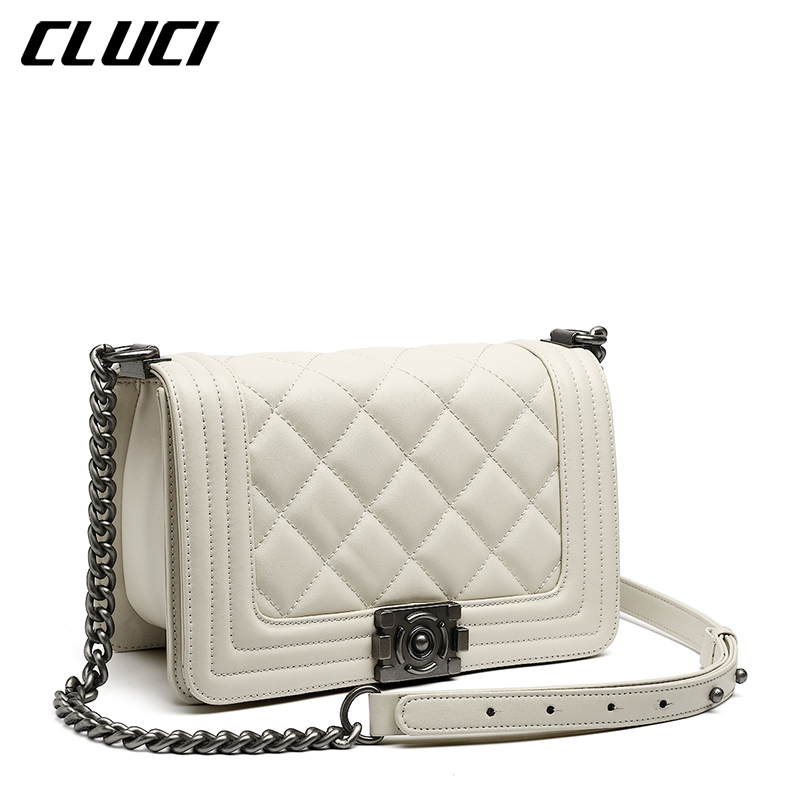 CLUCI Women Chain Shoulder Bag High Quality Split Leather Fashion Messenger Bag Designer Luxury Handbags Female Crossbody Bags fashion matte retro women bags cow split leather bags women shoulder bag chain messenger bags