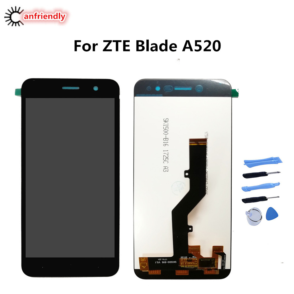 For ZTE Blade A520 LCD Display+Touch Screen Replacment Digitizer with frame Assembly Phone Panel For ZTE A520 A 520 display