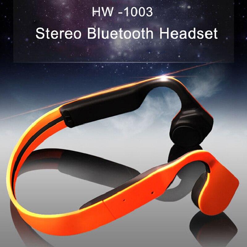 Condução Óssea Hangrui Original Vida À Prova D' Água Neck-strap Esporte Fone de Ouvido Fones de Ouvido Bluetooth NFC Handsfree fones de ouvido Sem Fio