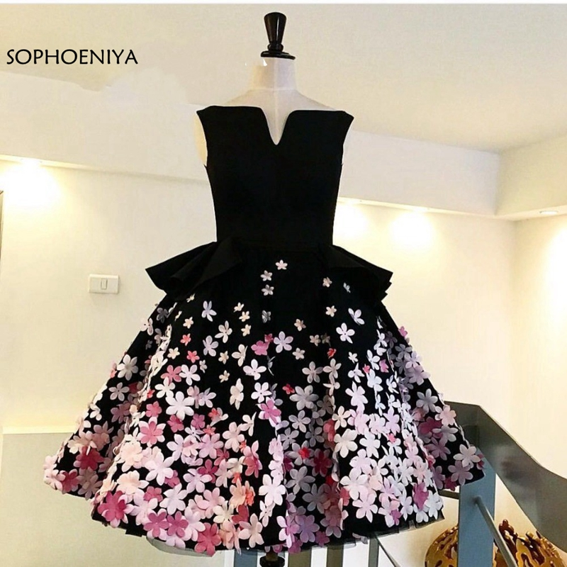 New Arrival Custom made Flower Appliques Plus size   Cocktail     dresses   Pink and white Black Sexy   Cocktail     dress