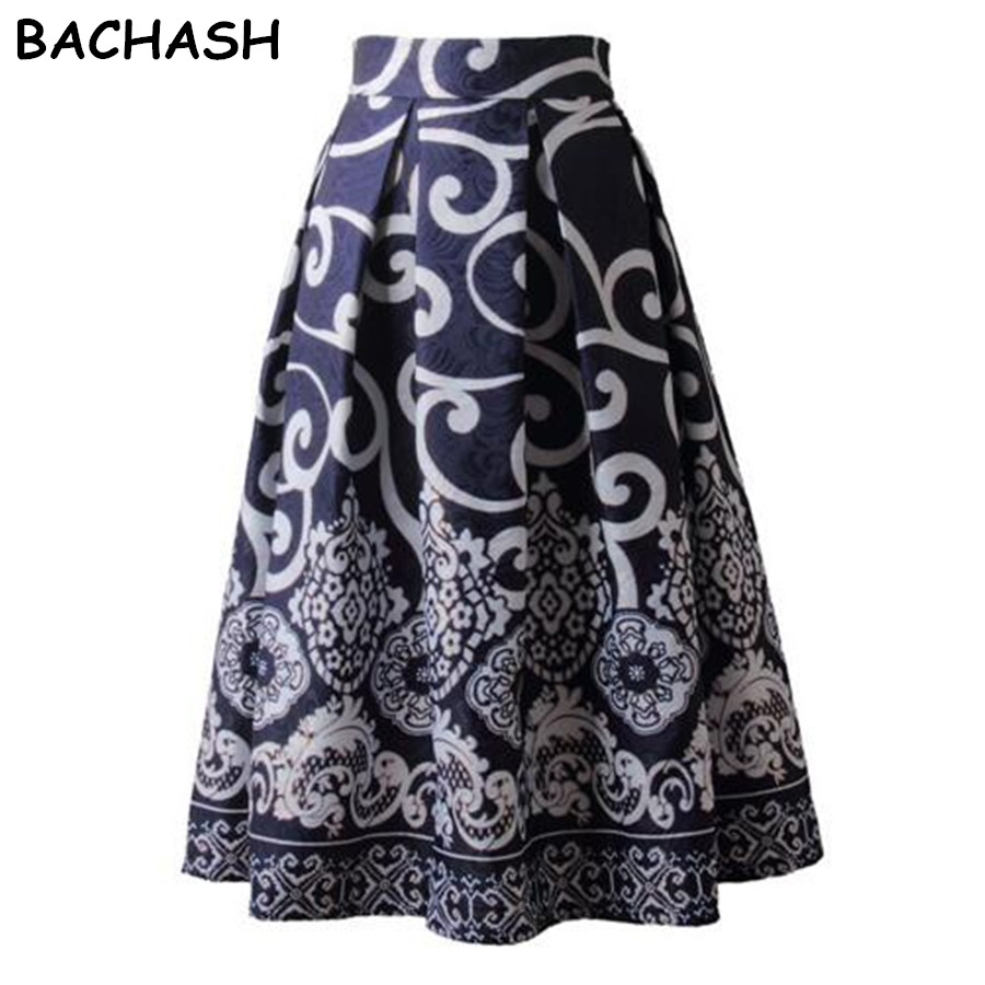 Detail Feedback Questions about Bachash Autumn Winter Chic Vintage Floral  Fashion Skirts Womens Pleated Tutu Skater Skirt Elegant High Waist Midi Ball  Gown ... c91375a106bf