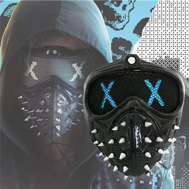 US $50 13 12% OFF|Game Watch Dogs 2 Mask Marcus LED Light Mask Emoji  Changeable Holloway Wrench Cosplay Punk Gothic Rivet Face Mask Halloween-in