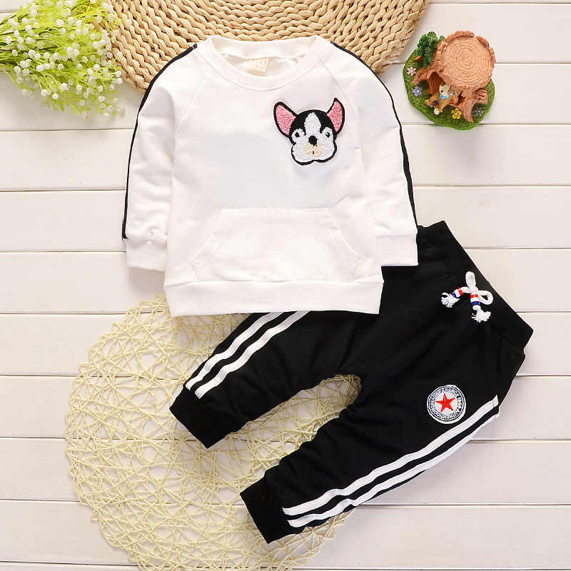 Baby Boy Clothes Spring Autumn Cartoon Dog Round Neck T-shirts Tops Long Pants Infant Clothing Set Casual Kids Bebes Sport Suits