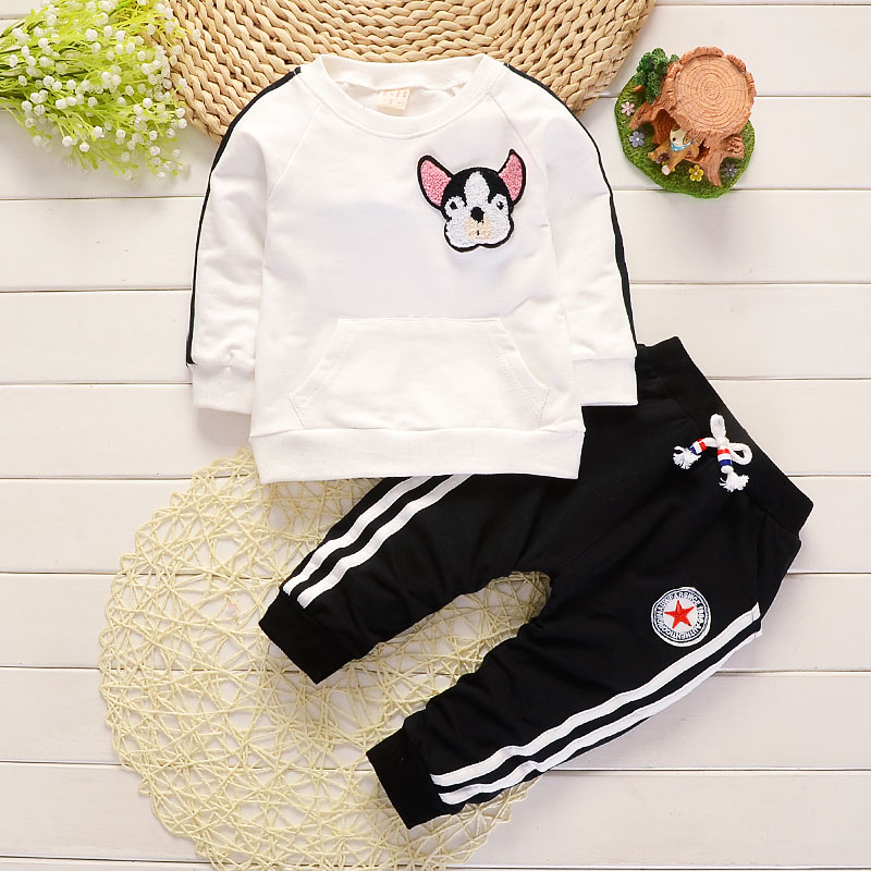 Baby Boy Clothes Spring Autumn Cartoon Dog Round Neck T-shirts Tops Long Pants Infant Clothing Set Casual Kids Bebes Sport Suits easy guide to sewing tops and t shirts skirts and pants