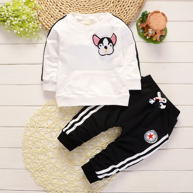 Ropa de bebé niño primavera otoño dibujos animados perro Camisetas cuello  redondo Tops pantalones largos ropa 08f2c1bd2825