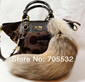 "Natural Tail Fox Fur Llaveros Tassel Bag Bolso Colgante de Accesorios de 16"""