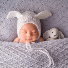 Vintage White Bunny Toy Mohair Newborn Photography Hat Baby