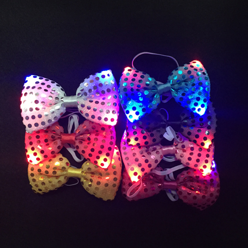 Led Toys Flashing Light Up Bow Tie Necktie LED Female Male Party Light Sequins Tie Wedding Decoration Halloween Glow In The Dark (4)
