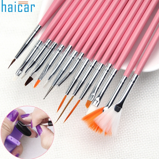 Haicar Best Deal New 15pcs Good Quality Pink Nail Art Brushes