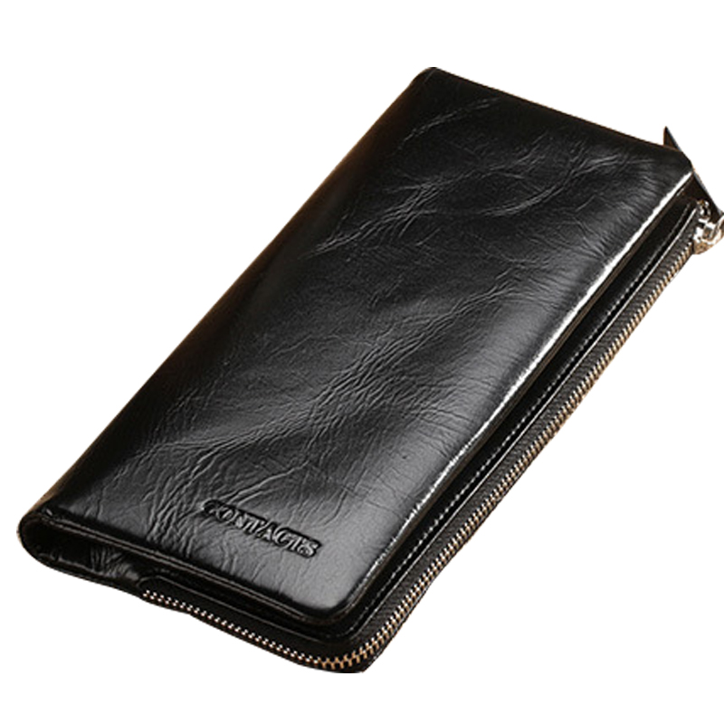Men Wallet Cowhide Genuine Leather Purse Money Clutch Vintage Card Holder Coin Long Casual Male Zipper Black Photo 2017 Wallets 2017 new cowhide genuine leather men wallets fashion purse with card holder hight quality vintage short wallet clutch wrist bag