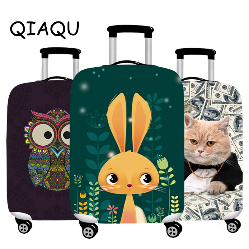 QIAQU Thick Luggage Dust Cover 3D Animals Elastic Suitcase Protector Fit 18-32 Suitcase Cute Cat Dog Styles Travel Accessories