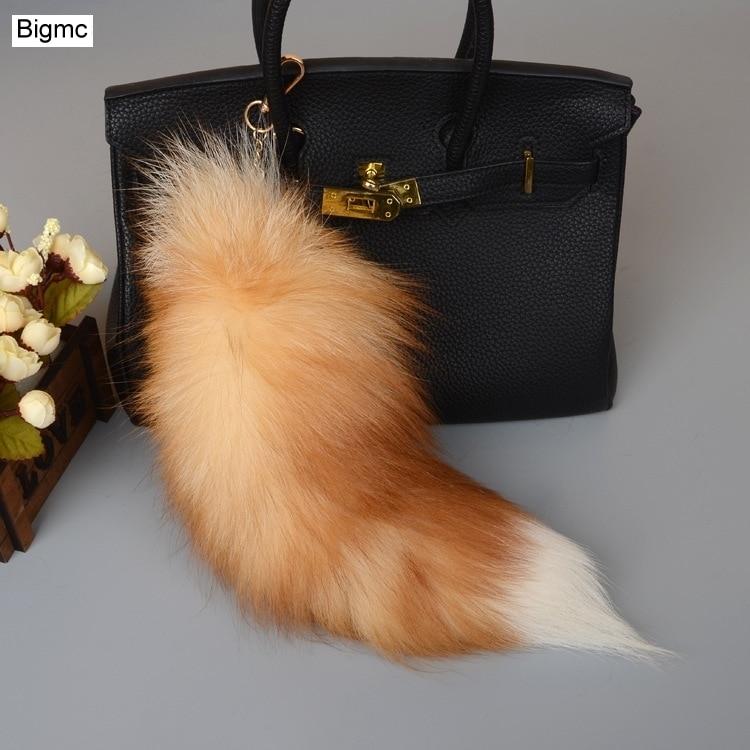 Fox Tail Pendants Keychain 40cm Fur Pom Pom Key Chain Bag Key Ring Car Key Holder Best Gift Jewelry K1644
