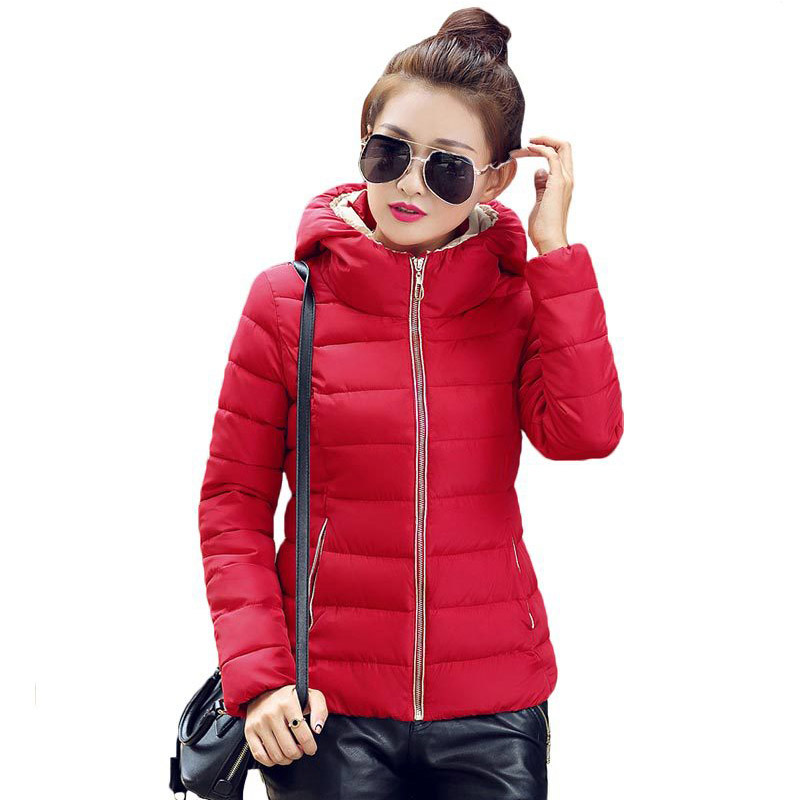 acb3511ac64 2016 Winter Fashion Jacket Women Hooded Parka Slim Cotton Padded High Neck  6 Colors Cotton Jacket Coat Women tops Plus Size-in Basic Jackets from  Women s ...