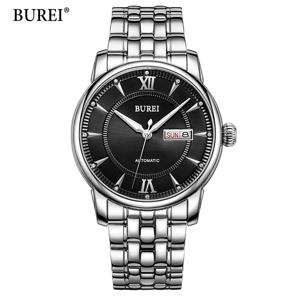 2017 Men Watches Brand Luminous Hour Day Date Clock Male Silver Stainless Steel Luxury Quartz Watch Men Casual Sport Wrist Watch 2017 luxury brand binger date genuine steel strap waterproof casual quartz watches men sports wrist watch male luminous clock