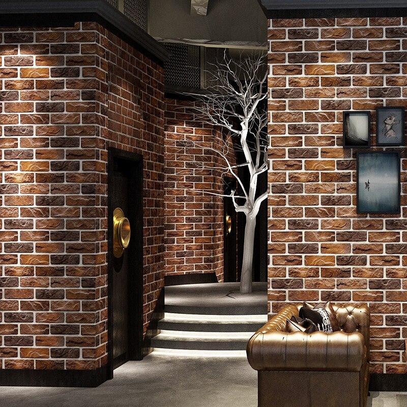 Image 3 - Customized 3D stereo Retro imitation brick wallpaper coffee cafe restaurant bar red brick wallpaper household improvement decorWallpapers   -