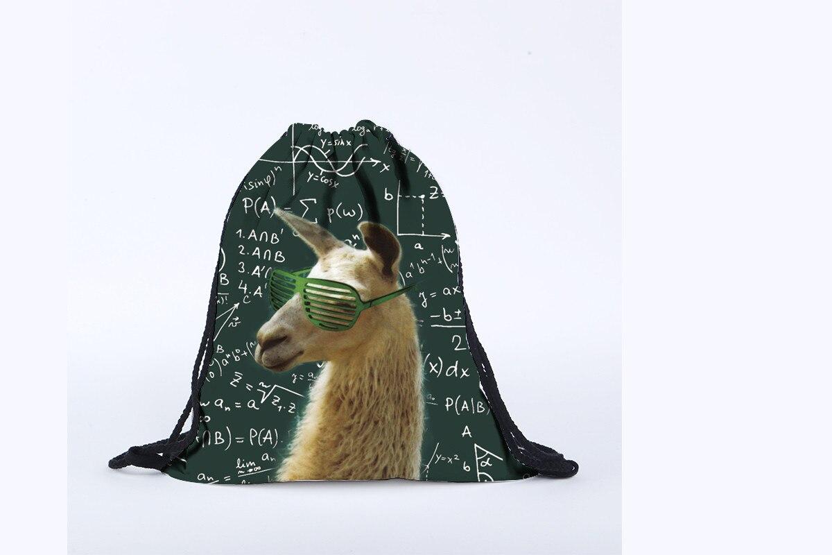 Green Polyester Drawstring Bag Unisex Alpaca Pattern Backpacks 3D Mathematical Formula Printing Bags Drawstring Backpack