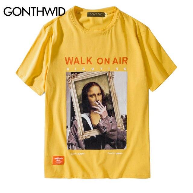 GONTHWID Rauchen Mona Lisa T Shirts Männer Frauen Lustige Hip Hop Casual Gedruckt Kurzarm T-shirts 2019 Mode Männlichen Streetwear