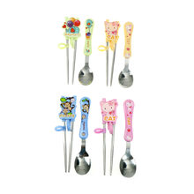 1 set Cute cat elephant monkey Learning Training Chopsticks Stainless Steel Chop Sticks with spoon For Child Enlightenment(China)