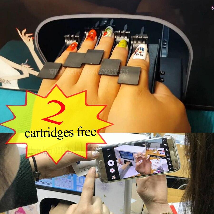 2 cartucce spedizione stampatore Del Chiodo professionale del chiodo di Diy di arte 10 pollici touch screen 5 mani unghie stampa 3 fiori di stampa un tempo