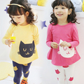 girls clothing set kids pajamas set cartoon kitty cotton 2pc set spring winter long-sleeve sleepwear children pyjamas