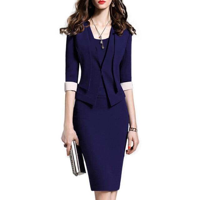 New Fashion Women Dress Set Formal Pencil Dress Suits Elegant Vintage  Office Wear Work Clothes For Ladies Cotton Dress Plus Size 138bc6887e3b