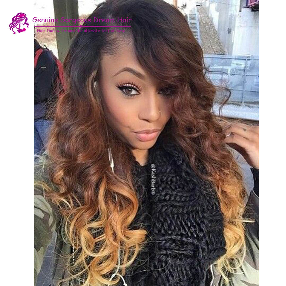 3 Tone Color Ombre Virgin Hair Full Lace Wig Black Brown Blonde Full