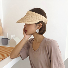 Simple Ladies Roll Up Sun Visors Raffia UV Protection Empty Top Women Hats Straw Visor Caps Beach Sunhat A076