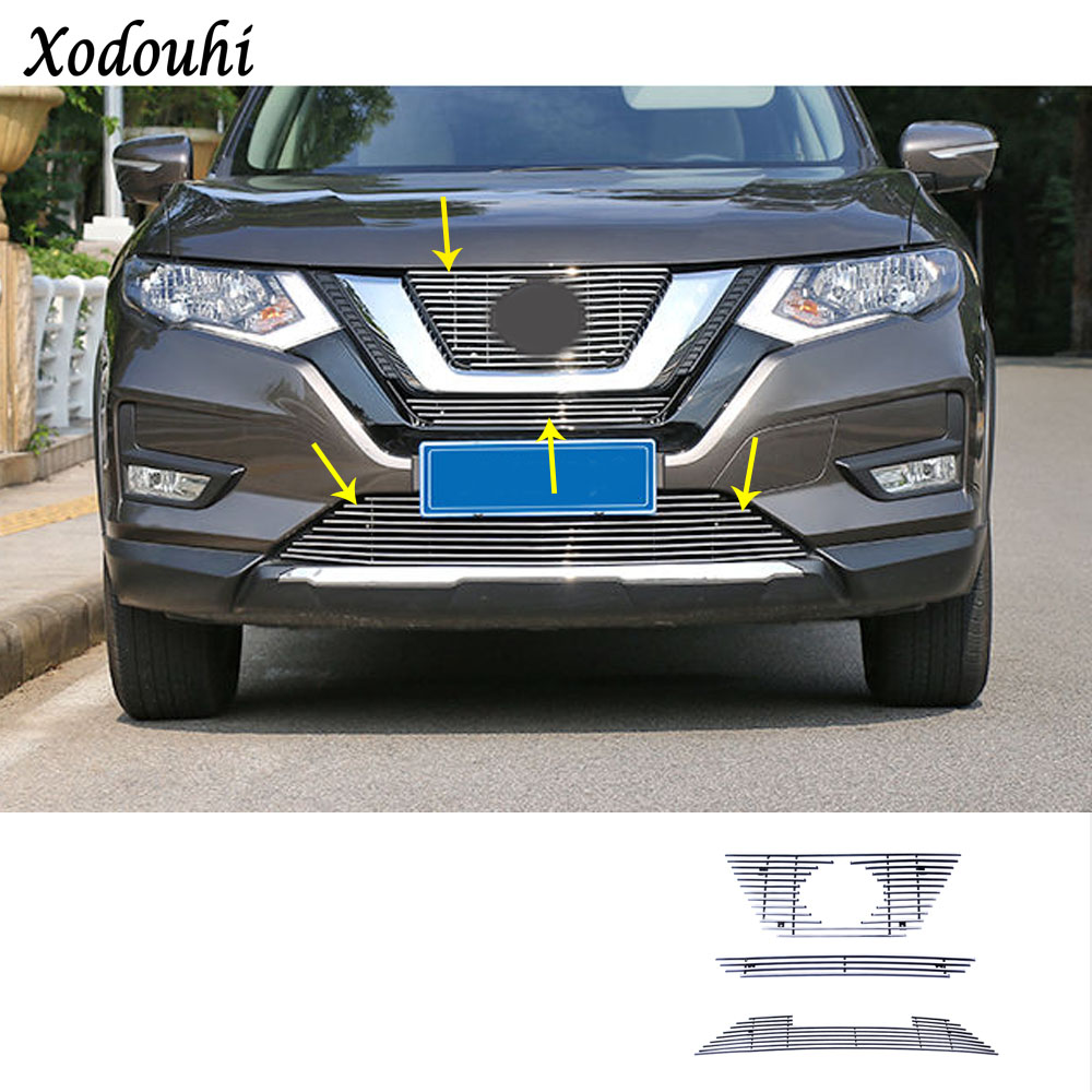 For Nissan X-Trail XTrail T32/Rogue 2017 2018 2019 Car body cover protection detector trim racing Grid Grill Grille molding for nissan x trail x trial rogue t32 2014 2015 2016 2017 abs chrome side door body protection molding trim cover car styling