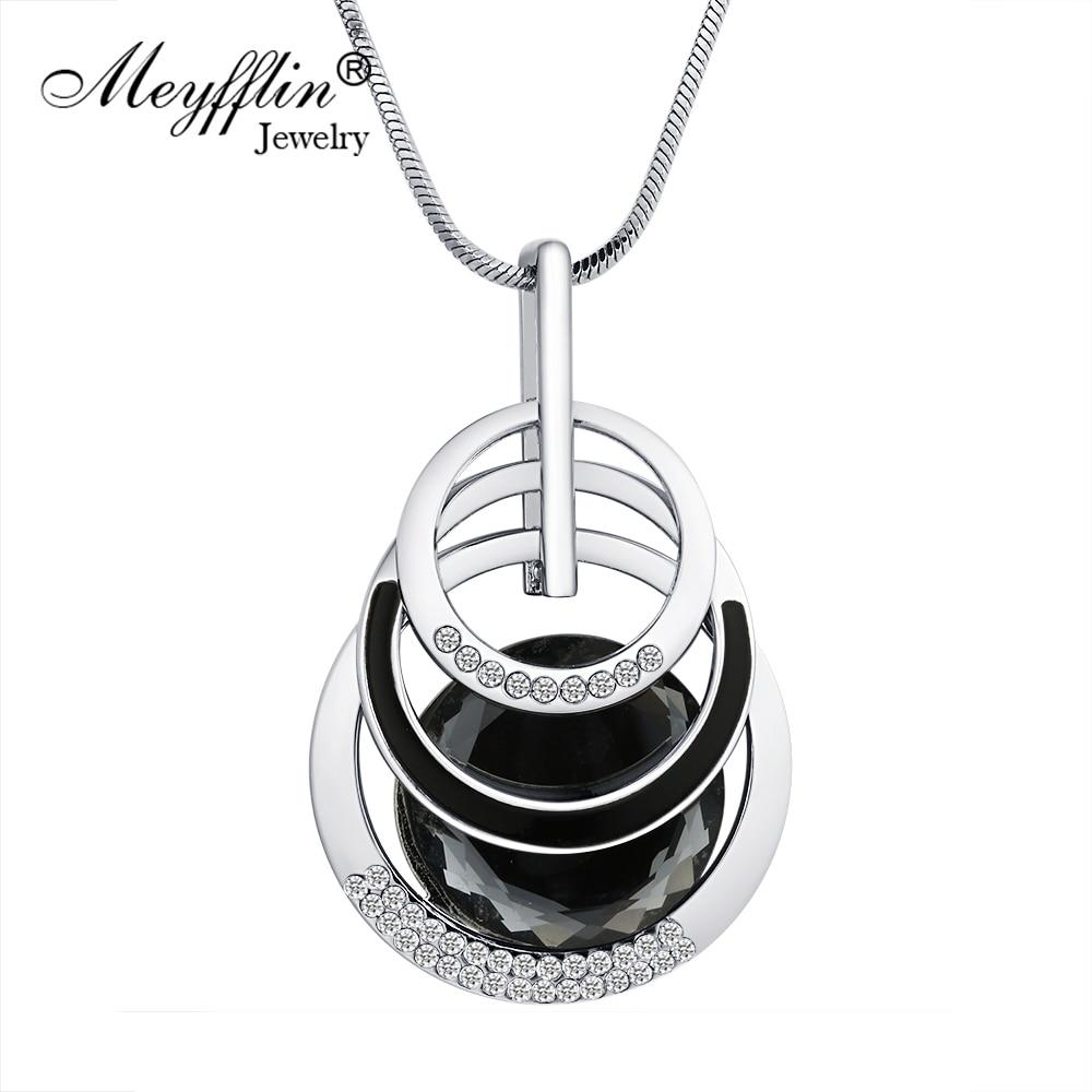 Meyfflin Collier Femme длинные Ожерелья и подвески для Для женщин круглый себе Цепочки и ожерелья макси Colar цепи Модные украшения 2017 Bijoux