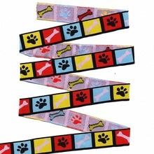 """Commercio allingrosso 5/8 """"+ 7/8"""" (16mm + 22mm 20y/lotti) Poliestere Colore Dog paw stampe Tessuto Jacquard Ribbon Per Il Collare di Cane"""