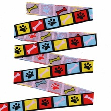"""wholesale 5/8""""+7/8""""(16mm+22mm 20y/lots) Polyester Color Dog  paw prints Woven Jacquard Ribbon For Dog Collar"""