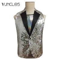 YUNCLOS 2019 Sequin Design Slim Fit Men Suit Vest Party Suit Vest Waistcoat Single Breast Colete Masculino Performance Wear