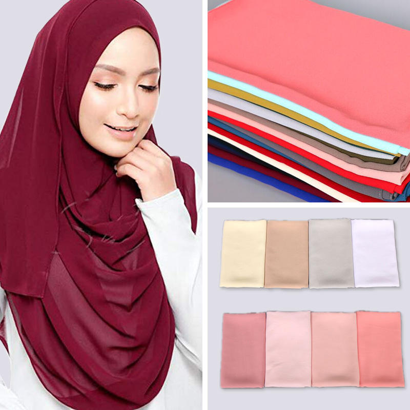 women plain bubble chiffon scarf hijab wrap print solid color shawls head scarf muslim hijabs fashion headband scarves 63 color(China)