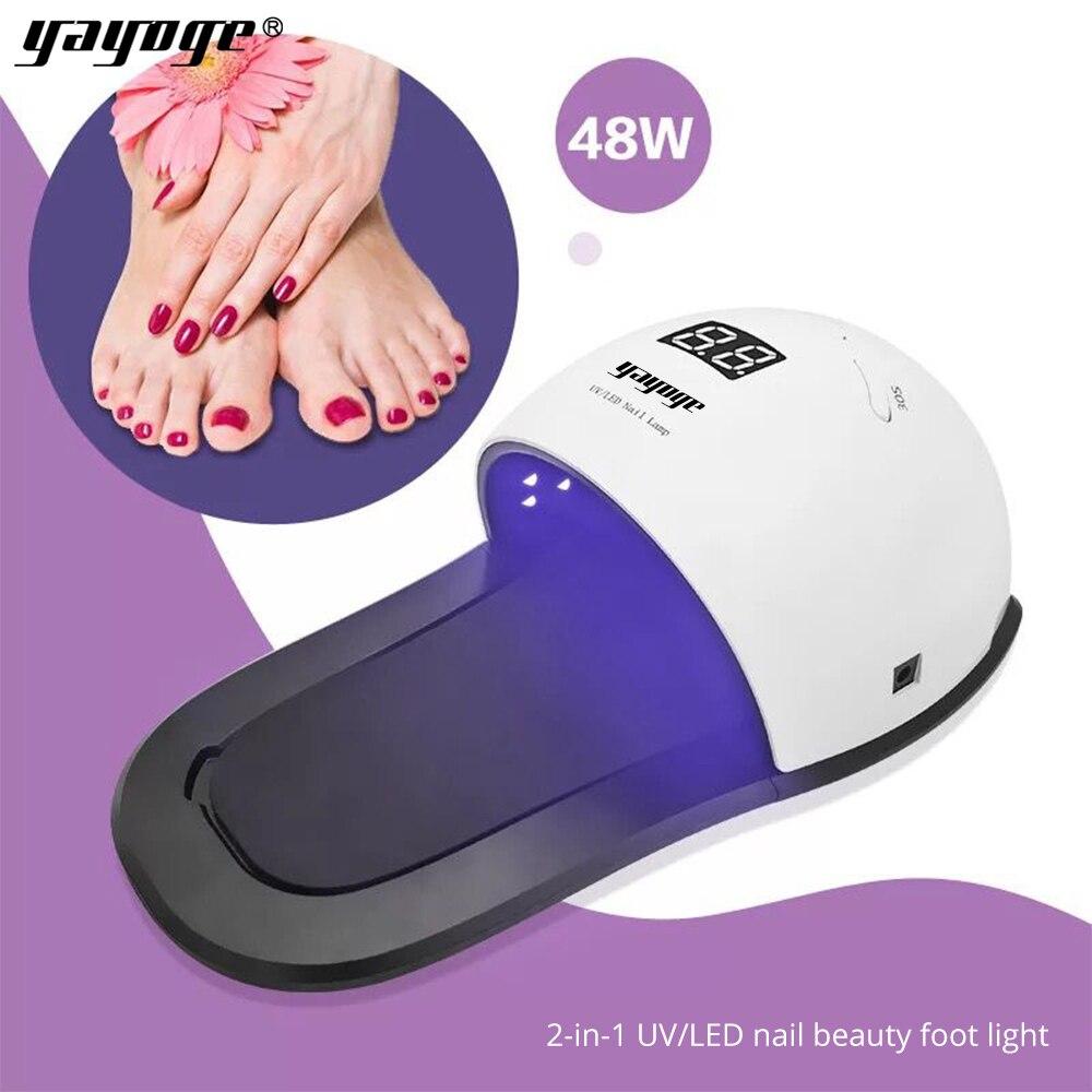Yayoge Сушилка для ногтей светодио дный светодиодная УФ-лампа для УФ-гель лак для ногтей 3 режима синхронизации 10 s/30 s/99 S ручная и ножная Двойная...