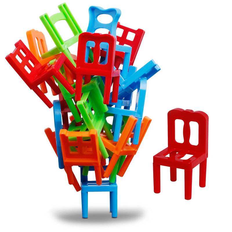 18PCS Balance Stacking Chairs Building Blocks Hand-eye Coordination Intellectual Development Office Toys Interactive Toy
