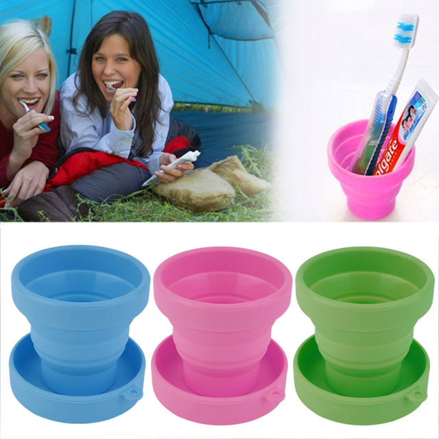 Portable Silicone Retractable Folding Water Cup Outdoor Travel Telescopic Collapsible Soft Drinking Cup 8X4.3X7CM free shipping