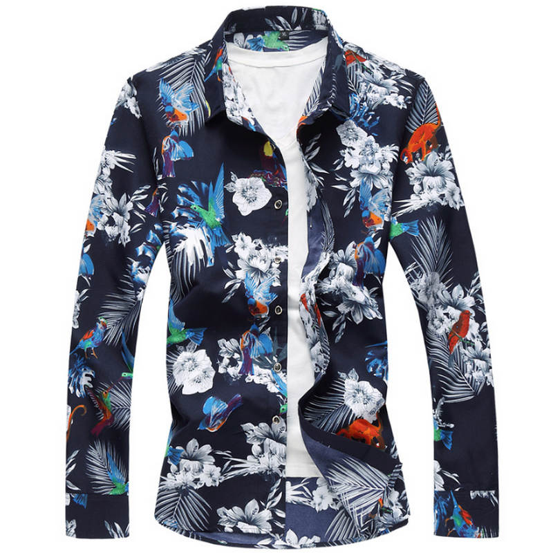 2019 Fashion Floral Men's Shirts Plus Size M~5XL 6XL 7XL Flower Printed Casual Camisas Masculina Black White Red Blue Male Shirt