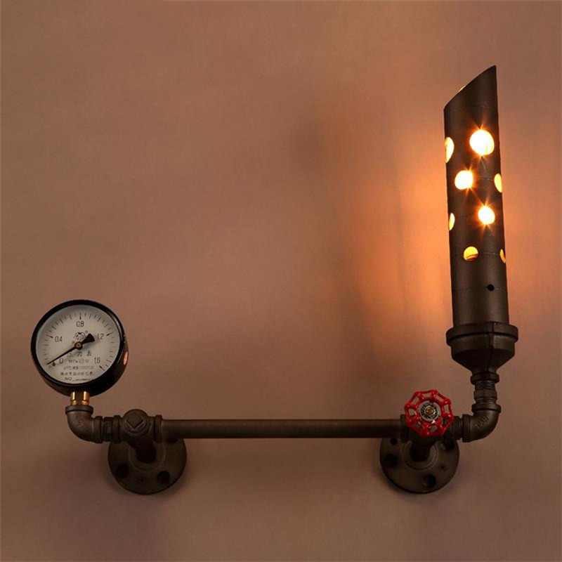 Loft Industrial Cafe Light Water Pipe Wall Light Creative Art Wall Light for Restaurant Bar Water Meter Decoration Free Shipping