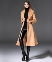 2017 High Quality Long Wool Coats Winter Women Cashmere Coat Casual Camel Overcoats With Sashes Jackets
