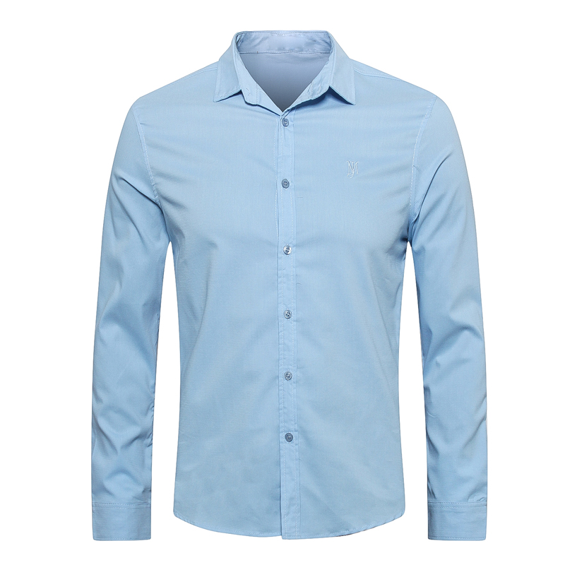 Chemise milliardaire hommes 2019 nouveau printemps coton brodé confort haute qualité couleur unie style frais gentleman livraison gratuite