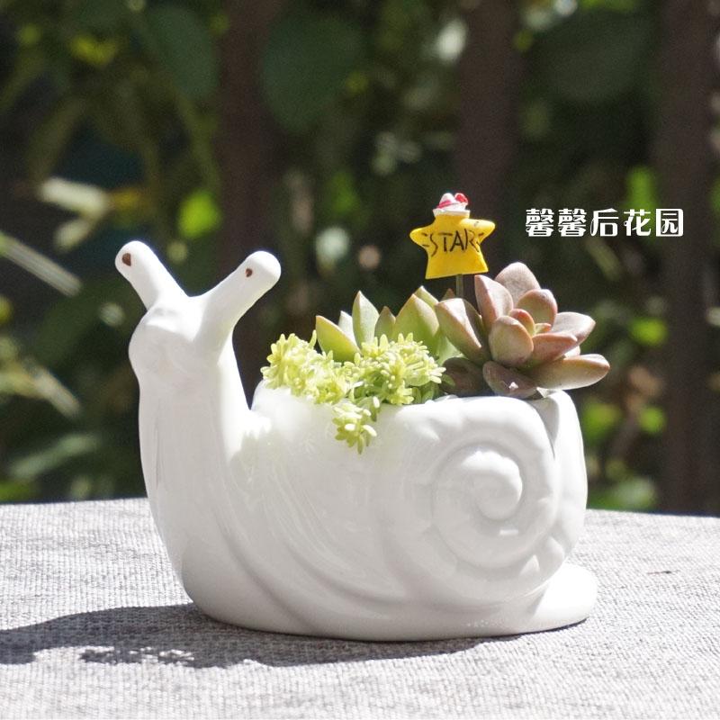 Kawaii Little Animal Ceramic Flowerpot White Porcelain Succulent